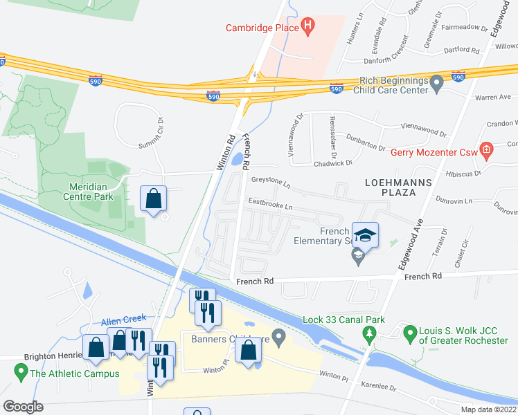 map of restaurants, bars, coffee shops, grocery stores, and more near 436 Eastbrooke Lane in Rochester