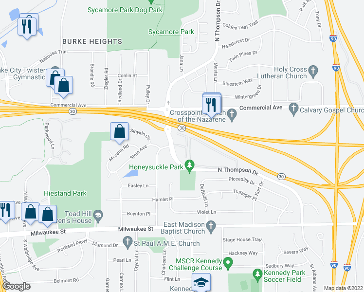 map of restaurants, bars, coffee shops, grocery stores, and more near 401 North Thompson Drive in Madison