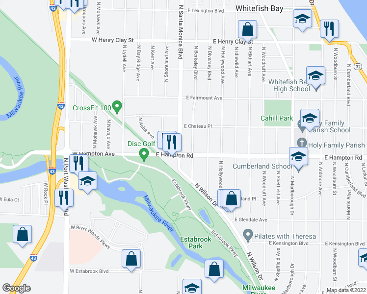 map of restaurants, bars, coffee shops, grocery stores, and more near 4818 North Santa Monica Boulevard in Whitefish Bay