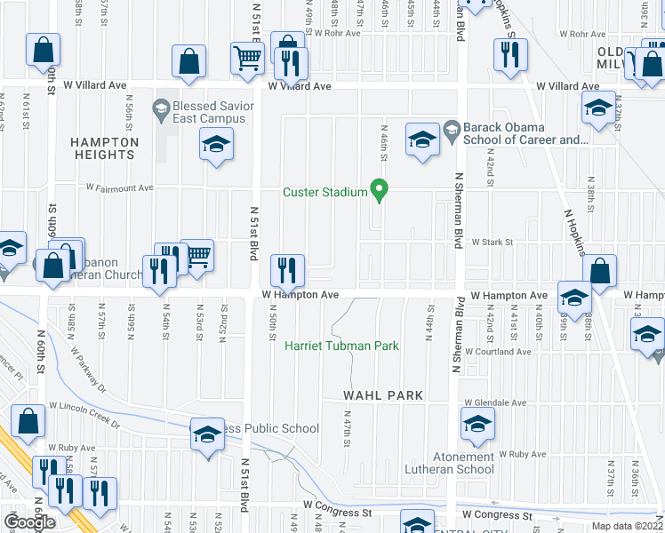 map of restaurants, bars, coffee shops, grocery stores, and more near North 48th Street in Milwaukee