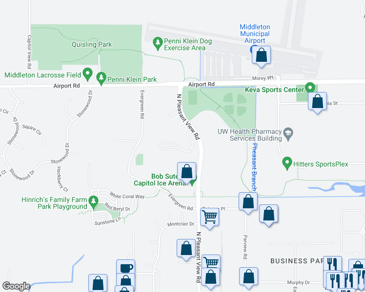 map of restaurants, bars, coffee shops, grocery stores, and more near 2852 Pleasant View Road in Middleton