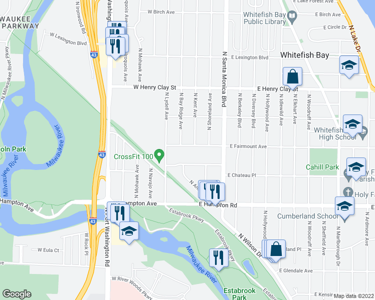 map of restaurants, bars, coffee shops, grocery stores, and more near 187 East Fairmount Avenue in Whitefish Bay