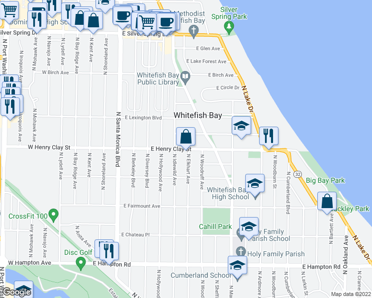 map of restaurants, bars, coffee shops, grocery stores, and more near 730 East Henry Clay Street in Whitefish Bay