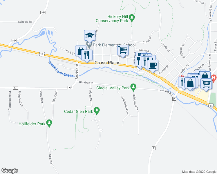 map of restaurants, bars, coffee shops, grocery stores, and more near 1400 Bourbon Road in Cross Plains