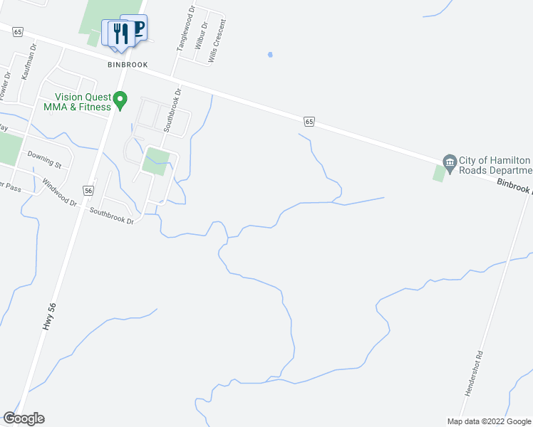 map of restaurants, bars, coffee shops, grocery stores, and more near 2349-2419 Binbrook Road in Hamilton