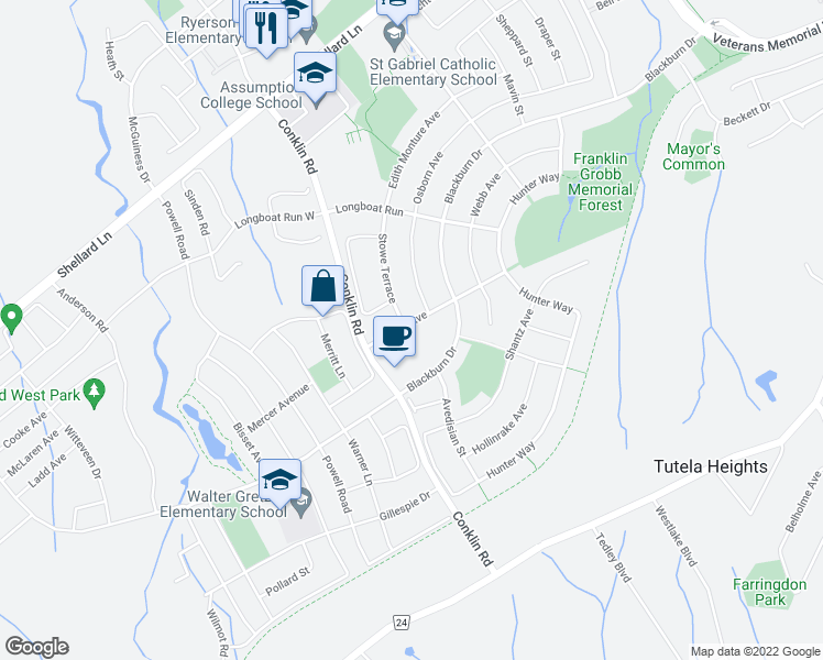 map of restaurants, bars, coffee shops, grocery stores, and more near 30 Duncan Avenue in Brantford