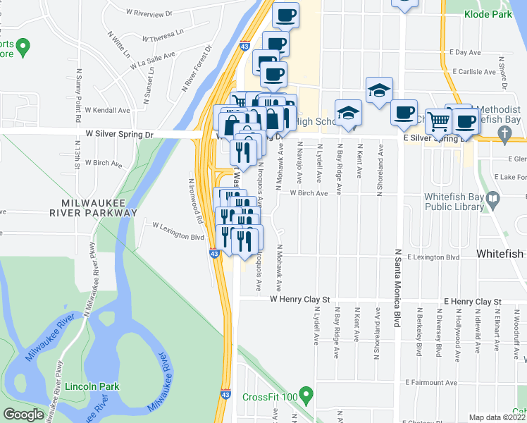 map of restaurants, bars, coffee shops, grocery stores, and more near 5400 North Iroquois Avenue in Glendale