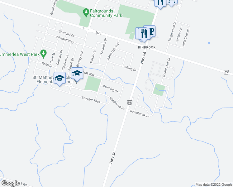 map of restaurants, bars, coffee shops, grocery stores, and more near 64 Downing Street in Hamilton