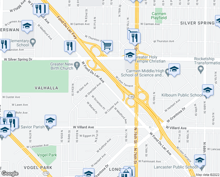 map of restaurants, bars, coffee shops, grocery stores, and more near 7913 W