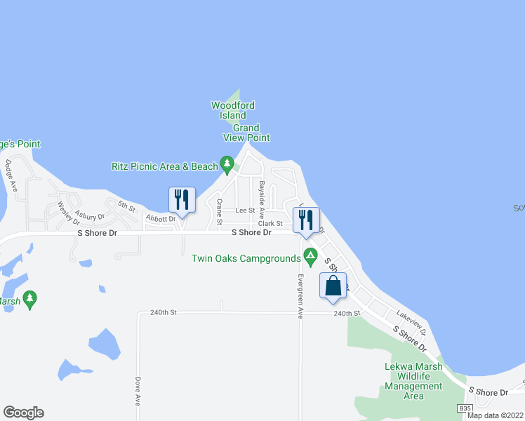 map of restaurants, bars, coffee shops, grocery stores, and more near Lee Street in Clear Lake