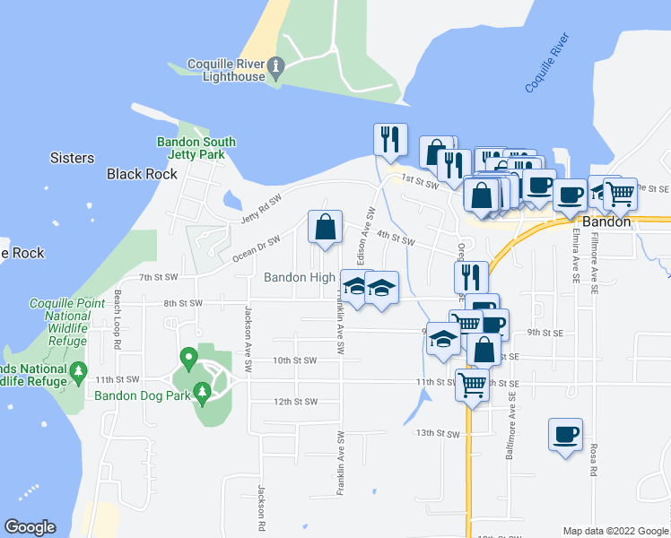 map of restaurants, bars, coffee shops, grocery stores, and more near 650 Franklin Avenue Southwest in Bandon