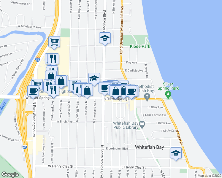 map of restaurants, bars, coffee shops, grocery stores, and more near 401 East Beaumont Avenue in Whitefish Bay