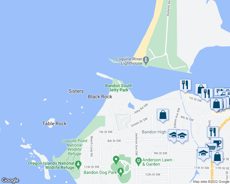 map of restaurants, bars, coffee shops, grocery stores, and more near 330 Madison Avenue in Bandon