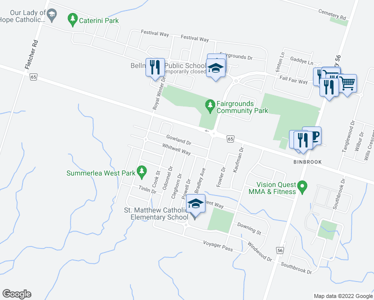 map of restaurants, bars, coffee shops, grocery stores, and more near 67 Gowland Drive in Hamilton
