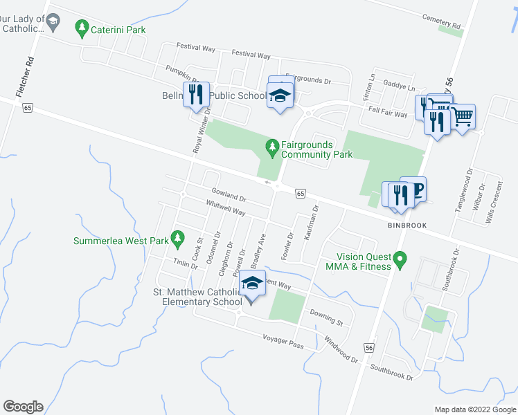map of restaurants, bars, coffee shops, grocery stores, and more near 19 Gowland Drive in Hamilton