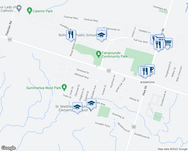 map of restaurants, bars, coffee shops, grocery stores, and more near 16 Gowland Drive in Hamilton