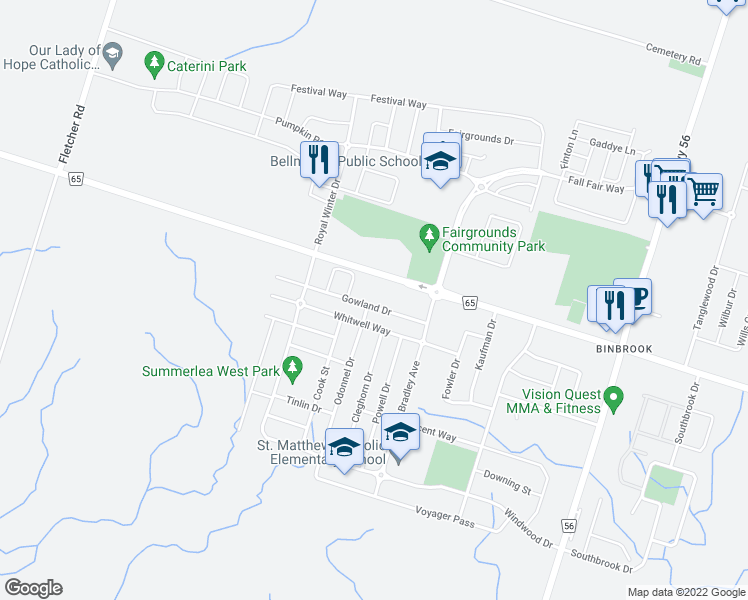 map of restaurants, bars, coffee shops, grocery stores, and more near 84 Gowland Drive in Hamilton