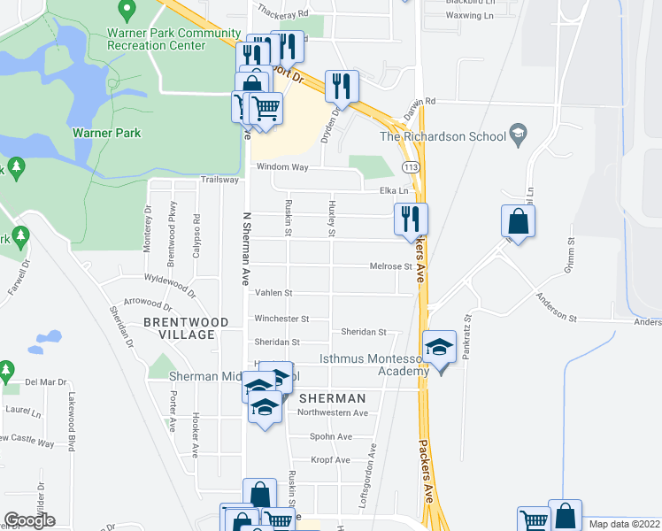 map of restaurants, bars, coffee shops, grocery stores, and more near Melrose Street in Madison