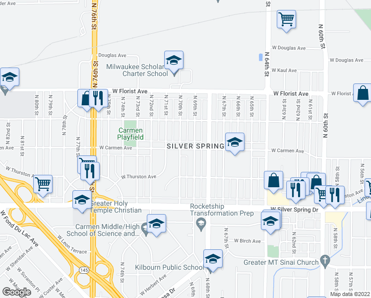 map of restaurants, bars, coffee shops, grocery stores, and more near West Carmen Avenue in Milwaukee