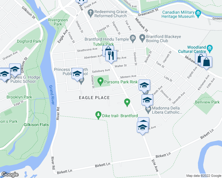 map of restaurants, bars, coffee shops, grocery stores, and more near 14 Canada Court in Brantford