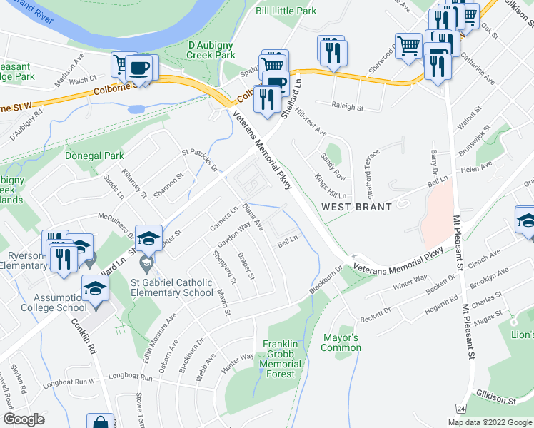 map of restaurants, bars, coffee shops, grocery stores, and more near 55 Diana Avenue in Brantford