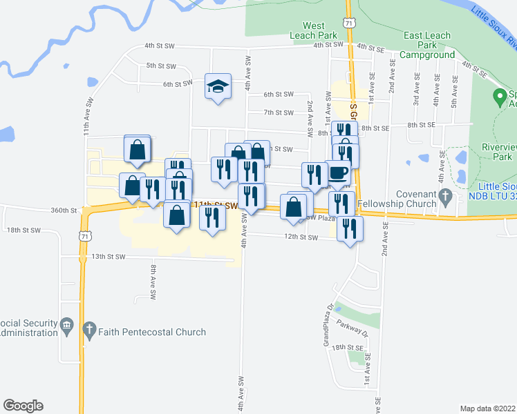 map of restaurants, bars, coffee shops, grocery stores, and more near 11th Street Southwest in Spencer