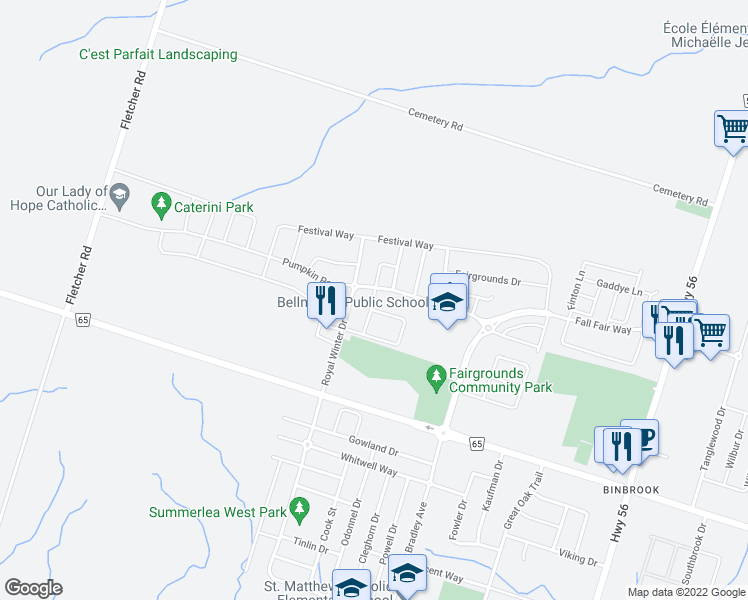 map of restaurants, bars, coffee shops, grocery stores, and more near Country Fair Way in Hamilton