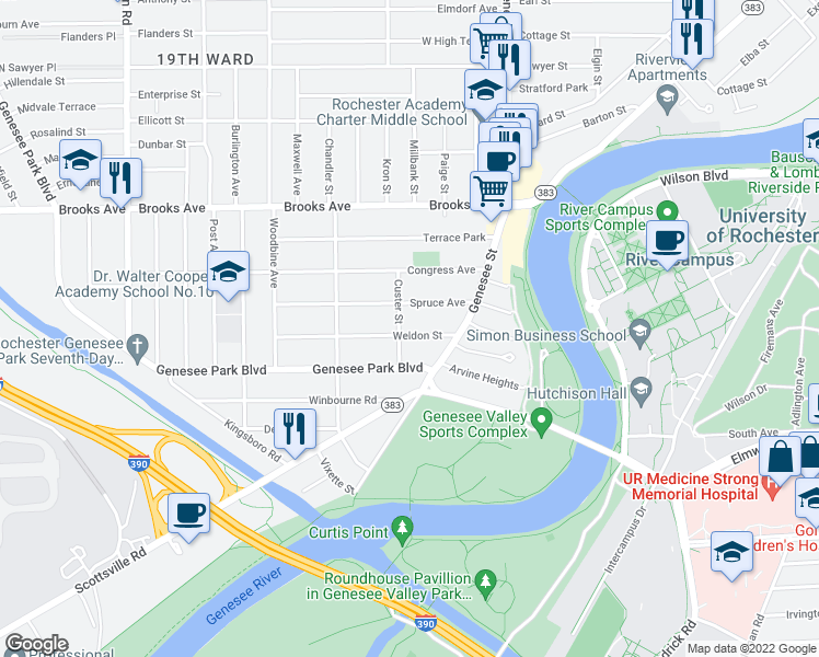 map of restaurants, bars, coffee shops, grocery stores, and more near 64 Weldon Street in Rochester
