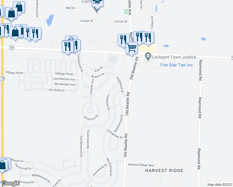 map of restaurants, bars, coffee shops, grocery stores, and more near 374-806 Birchwood Drive in Lockport