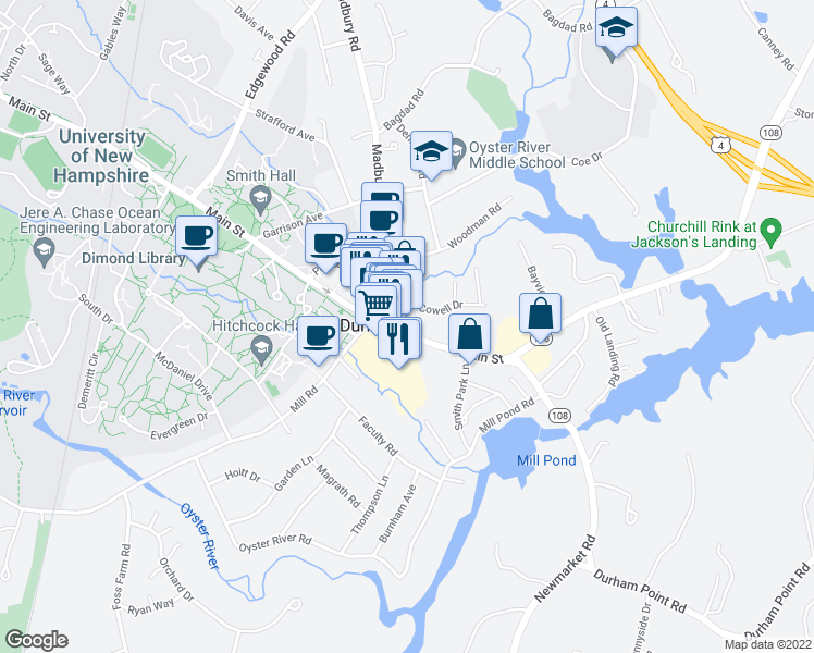 map of restaurants, bars, coffee shops, grocery stores, and more near 1 Madbury Road in Durham