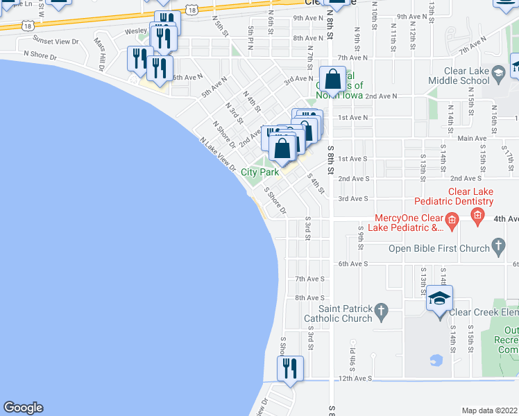 map of restaurants, bars, coffee shops, grocery stores, and more near 307 Main Avenue in Clear Lake