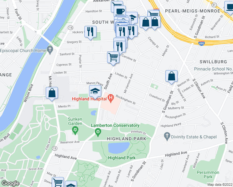 map of restaurants, bars, coffee shops, grocery stores, and more near 56 Rockingham Street in Rochester