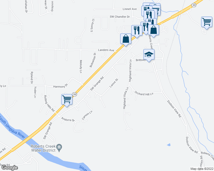 map of restaurants, bars, coffee shops, grocery stores, and more near 5178 Lance Street in Roseburg