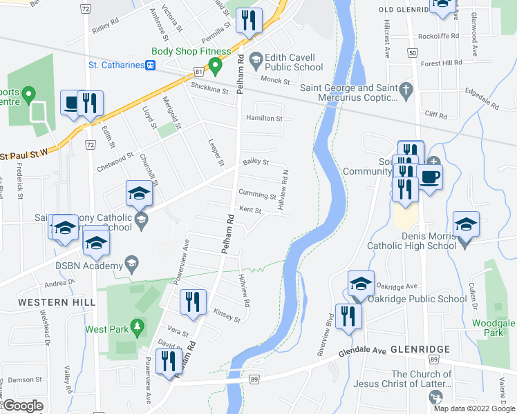 map of restaurants, bars, coffee shops, grocery stores, and more near 36 Kent Street in St. Catharines