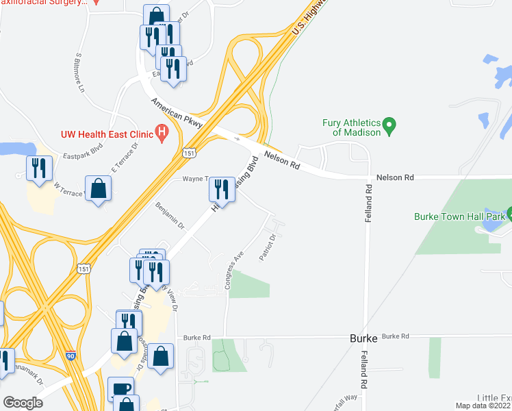 map of restaurants, bars, coffee shops, grocery stores, and more near 3515 Cross Hill Drive in Madison