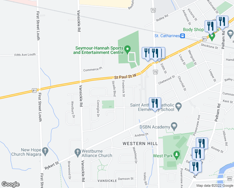 map of restaurants, bars, coffee shops, grocery stores, and more near 33 Frederick Street in St. Catharines