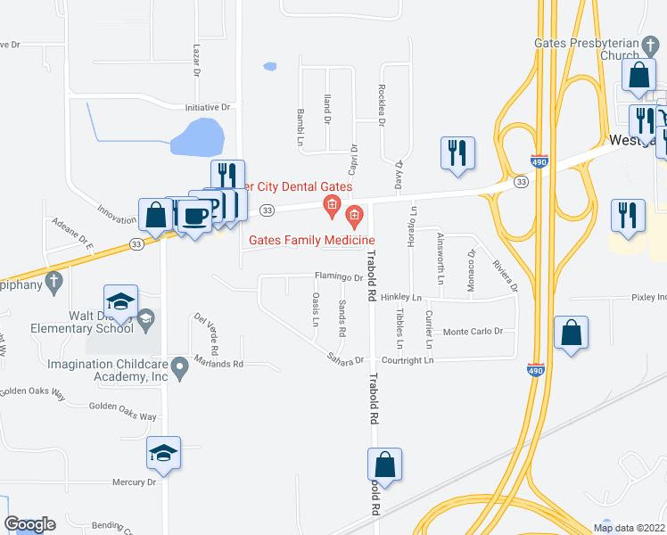 map of restaurants, bars, coffee shops, grocery stores, and more near 10 Flamingo Drive in Rochester