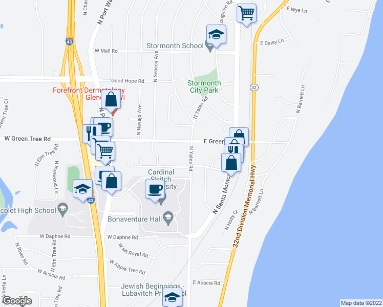 map of restaurants, bars, coffee shops, grocery stores, and more near North Yates Road in Fox Point