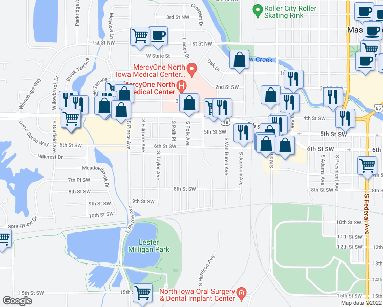 map of restaurants, bars, coffee shops, grocery stores, and more near 631 South Polk Avenue in Mason City