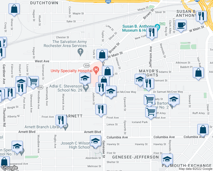 map of restaurants, bars, coffee shops, grocery stores, and more near 148 Genesee Street in Rochester