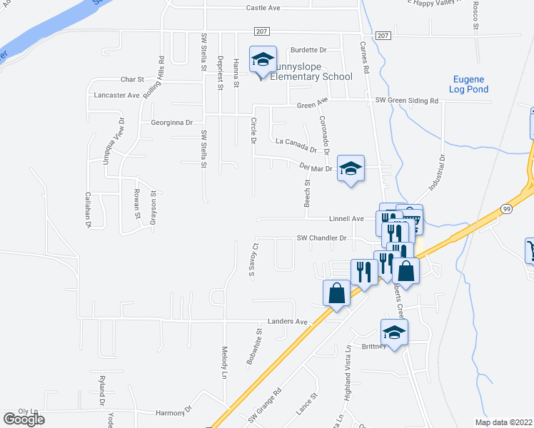 map of restaurants, bars, coffee shops, grocery stores, and more near 2206 Linnell Avenue in Roseburg
