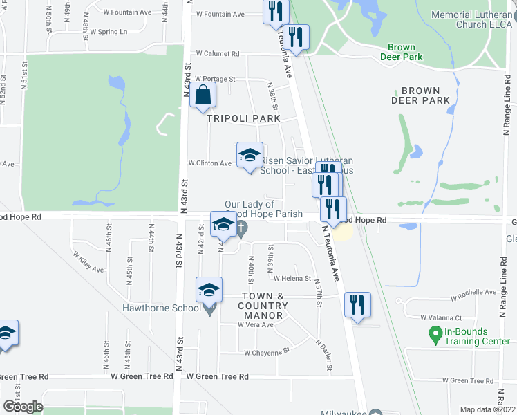 map of restaurants, bars, coffee shops, grocery stores, and more near 3900 Good Hope Road in Milwaukee