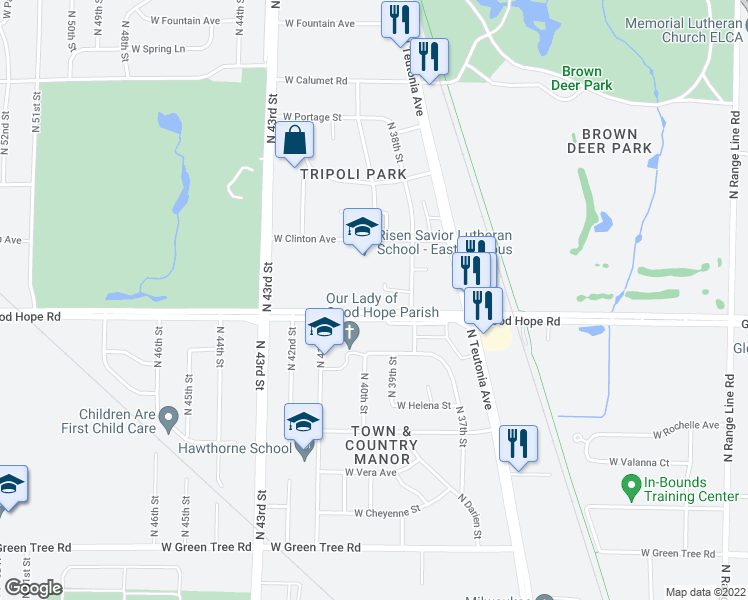 map of restaurants, bars, coffee shops, grocery stores, and more near 3900 West Good Hope Road in Milwaukee