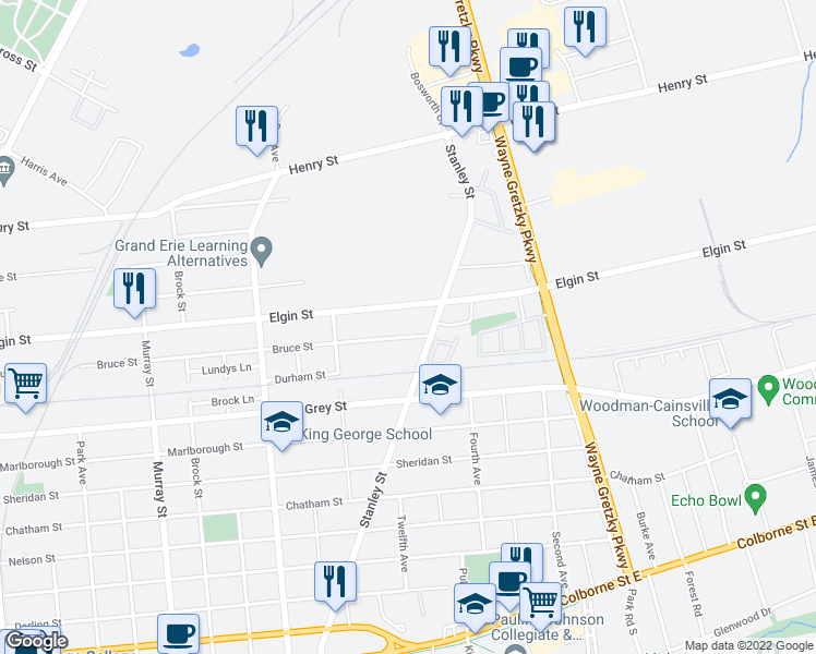 map of restaurants, bars, coffee shops, grocery stores, and more near 260 Bruce Street in Brantford