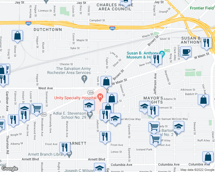 map of restaurants, bars, coffee shops, grocery stores, and more near 2 Genesee St in Rochester