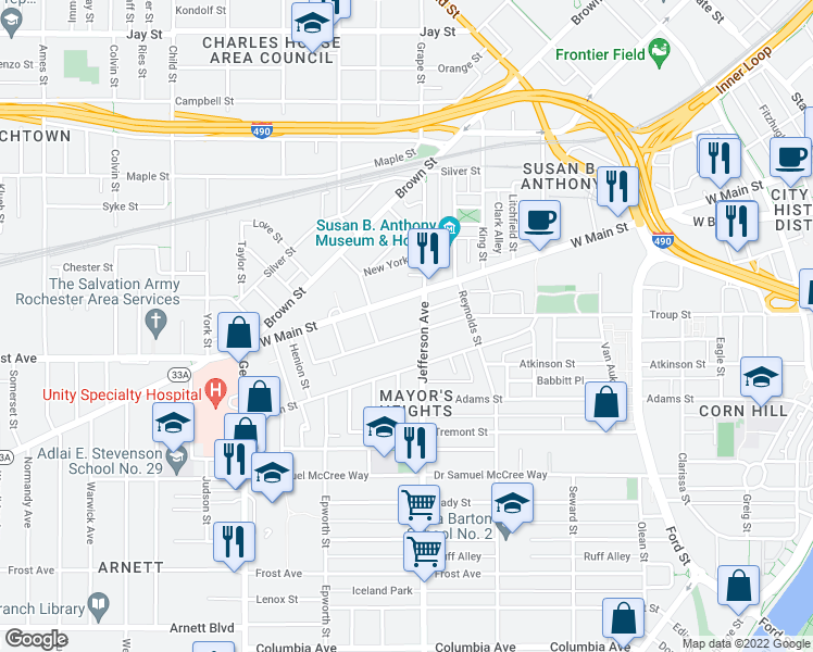 map of restaurants, bars, coffee shops, grocery stores, and more near 344 Troup St in Rochester