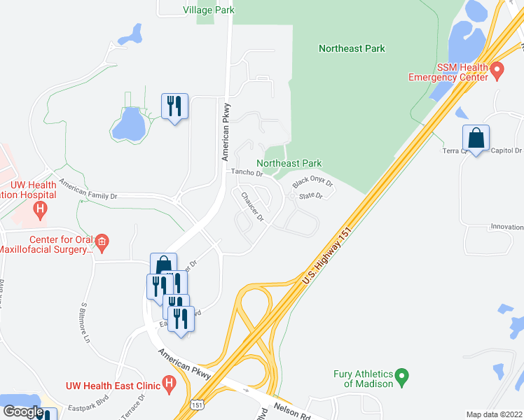 map of restaurants, bars, coffee shops, grocery stores, and more near 5201 Brookside Drive in Madison