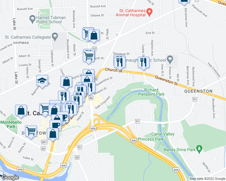map of restaurants, bars, coffee shops, grocery stores, and more near 30 Gale Crescent in St. Catharines