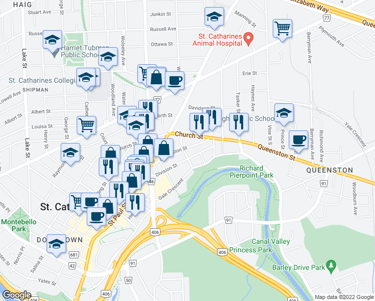 map of restaurants, bars, coffee shops, grocery stores, and more near 58 Queenston Street in St. Catharines