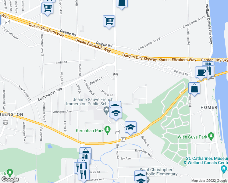 map of restaurants, bars, coffee shops, grocery stores, and more near 123 Bunting Road in St. Catharines